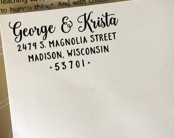Address Stamp, Custom Return Address Stamp, Modern Wedding Stamp, Self-Inking Stamp, Wooden Stamp, Rubber Stamp, Personalized Address Stamp