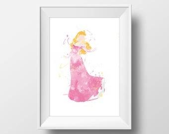 Wall Art Watercolor Disney Aurora Print,Sleeping Beauty Print,Watercolor Disney Princess,Nursery Print,Printable Disney,Baby Gift,Room Decor
