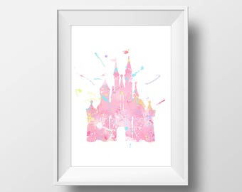 Wall Art Watercolor Disney Castle Print,Watercolor Disney,Nursery Print,Printable Disney,Baby Gift,Room Decor,Party Decor,Digital Print