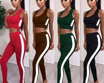 Summer Fitness Stripe Knitted Tracksuit