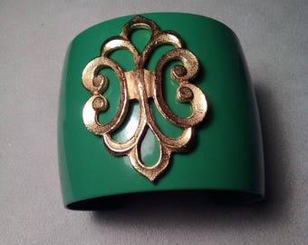Mod Wide Metal Cuff Bracelet