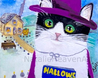 Halloween Art Prints, Tuxedo Cat Gift, Black and White Cat Art, Halloween Cat Picture, Giclee Print of Cat, 5x7 8x10 11x14, A5 A4 A3 Prints