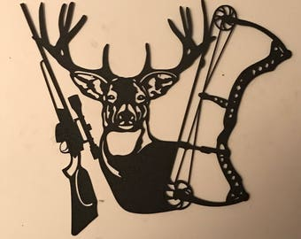 Metal wall art, Hunting,  metal decor with archery bow, rifle, and a deer. Rustic,  wall hanging,  in black. Plasma cut Metal