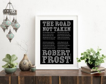 Poetry Art Print, Two Roads Diverged, Road Not Taken, Robert Frost, Christmas gift, Poet Wall Art, Poetry, Wall Decor, Typography poster