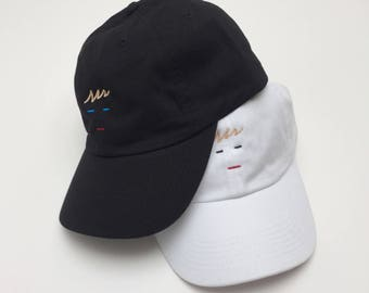 Line Face Dad Hat – Unstructured Black and White Embroidered Face Baseball Cap