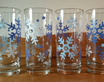 Sale! Set of 4 Snowflake Highball Glasses with Silver Rims