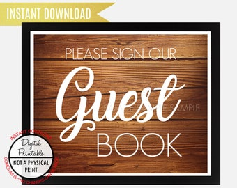 Please Sign our Guest Book Sign, Wedding Sign, Rustic Wood Sign, Baby Shower Bridal Shower, Birthday Sign, Instant Download, printable