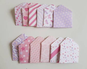 Set of 12 Mini Envelopes || Scrapbook envelopes || Gift Envelopes || Tiny envelopes || Money Envelopes || Pink Baby Envelopes