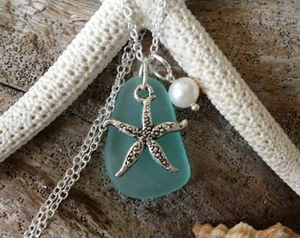 Made in Hawaii, Light aqua sea glass necklace, Starfish charm, Fresh water pearl, Sterling silver chain, gift box, Hawaii beach jewelry gift