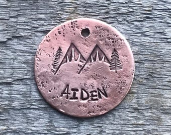 Dog Tag, Snow Capped Mountain Tag, Personalized Dog Tag, Pet Id Tag, Custom Dog Tag, Pet Supplies, Large Design Tag, Metal Hounds Dog Tag