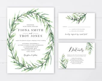 Greenery Botanical Wedding Invitation Suite | Fern Wreath Wedding Invitation | Wedding Invitation Printable | Foliage Invitation Suite