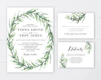 Greenery Botanical Wedding Invitation Suite | Fern Wreath Wedding Invitation | Wedding Invitation Printable | Foliage Invitation Suite