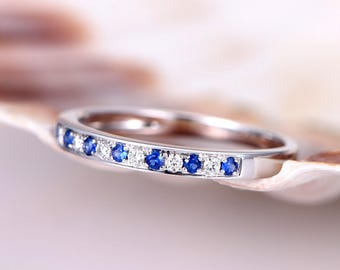 Natural blue sapphire Diamond wedding band solid 14k white gold,half eternity ring,engagement ring,stacking matching band,anniversary ring