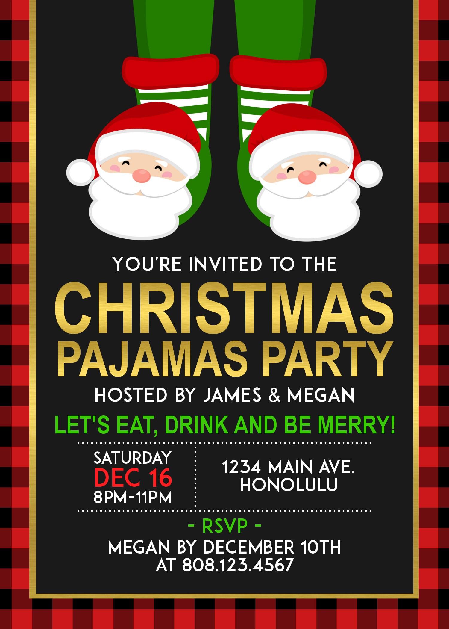 Christmas Pajamas Party Invitation. Pancakes and Pajamas Invitations ...