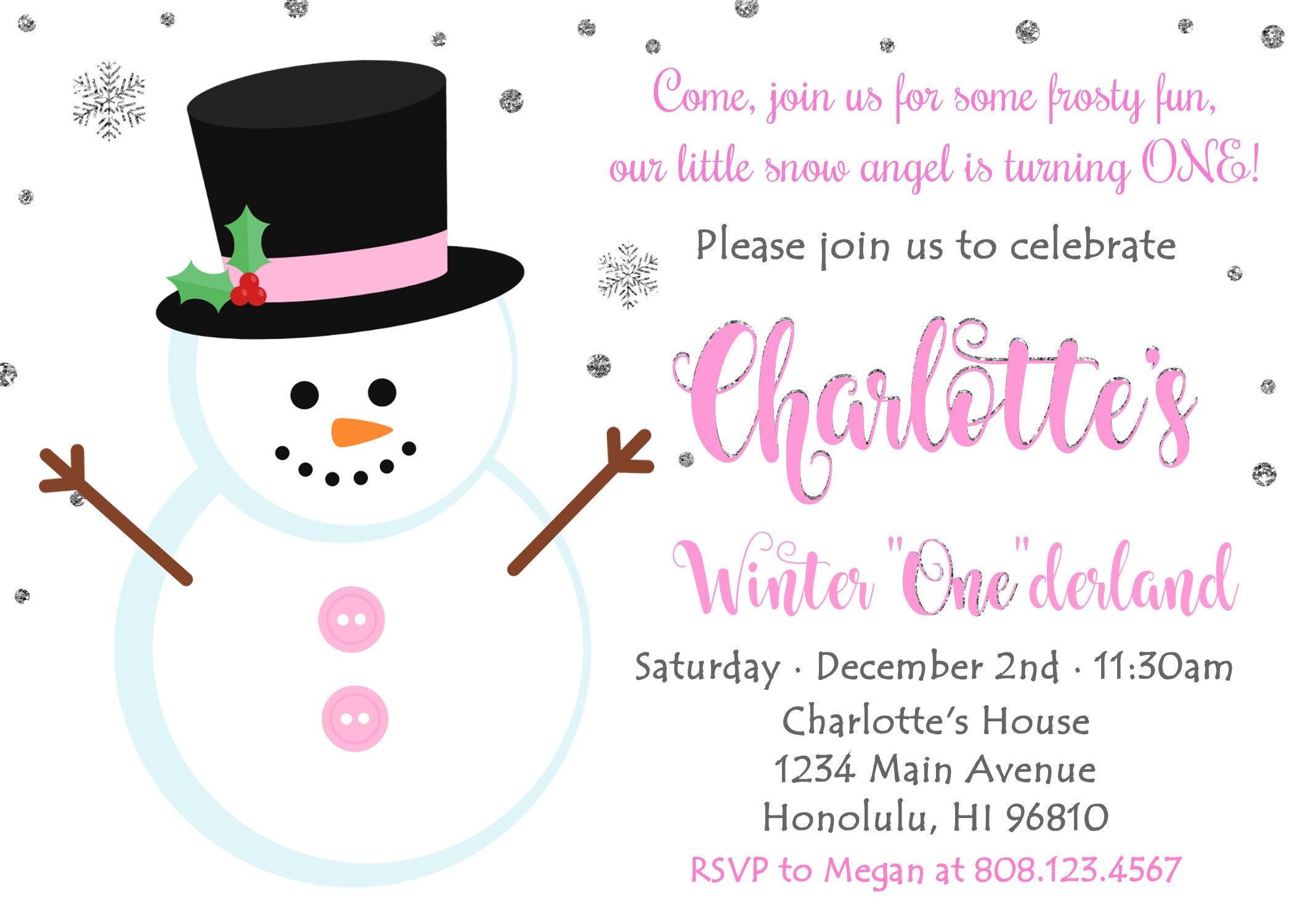 Snowman Birthday Invitation Girl. Winter ONEderland Invitation ...