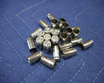 380 nickel plated brass, once fired bullet casings, cleaned and polished. Great for reloading, jewelry making, steampunk, and other crafts.