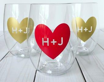 Shatterproof Wine Glasses | Custom Wine Glasses | Personalized Wine Glasses | Monogram Glasses | Bridesmaid Gift