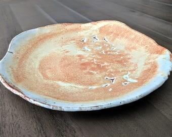 """Serving Platter Ceramic Platter Handmade Rustic Pottery Platter Orange and White Matte Glaze Freeform Stoneware Dinnerware 12"""" Large Platter"""
