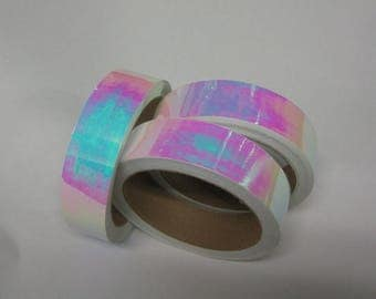 Pearl Tape Aurora, Pink/Blue, Choose Your Color and Size, Self-Adhesive Tape