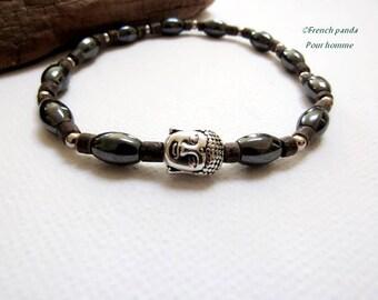 Men's bracelet / Hematite, coconut and silver Buddha.