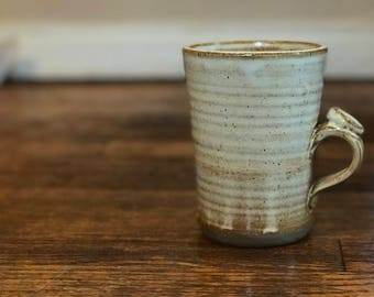 Handmade Mug Brown Stoneware Clay Speckled White, Pottery Stoneware 16oz Coffee Tea Cup
