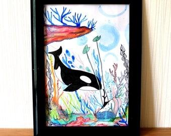 Original illustration * The mermaid and the Orca * art, illustration, drawing, seas, ocean, holiday, travel, exotic, animal, fantasy