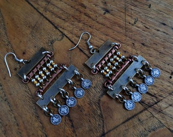 Tribal, ethnic earrings in copper & brass