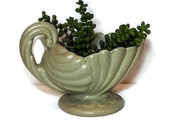 1950s VINTAGE POTTERY PLANTER or Vase Green Nautilus Dish Succulent Planter Haeger Speckled Pot Shabby Retro Mid Century Pot