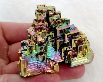 136g Rainbow Bismuth Crystal Lab Grown Display Specimen Educational Metaphysical Metal Transformation Stone - USA Grown!