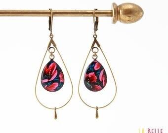 floral resin drops pink hoop earrings