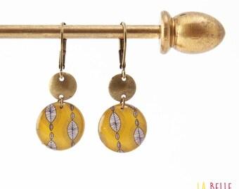 Small earrings ' sleepers earrings resin yellow wax print