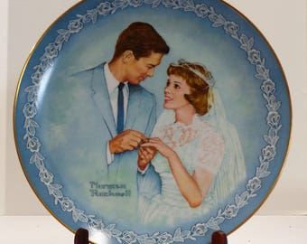 """Vintage Norman Rockwell """"With This Ring"""" Collector's Plate In Original Packaging"""