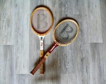 2 Bancroft Wooden Tennis Racquets, Billie Jean King Photo Wimbledon, Bjorn Borg Signature, Athletic Wall Decor, Retro Sports Memorabilia