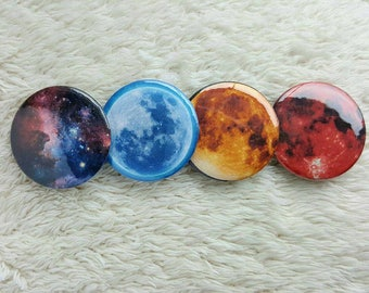 Blue Mon- Blood Moon- Galaxy 1.25 Inch Pin Back Button set of 4