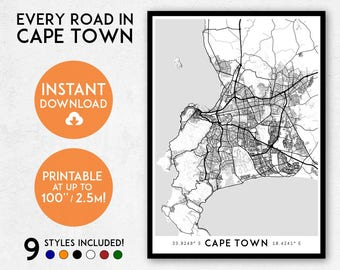 Cape Town map print, Printable Cape Town map art, South Africa map, Cape Town print, Cape Town art, Cape Town poster, Cape Town wall art