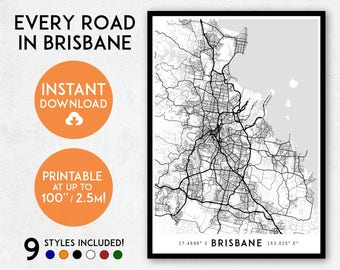 Brisbane map print, Printable Brisbane map art, Brisbane print, Queensland Australia map, Brisbane art, Brisbane poster, Brisbane wall art