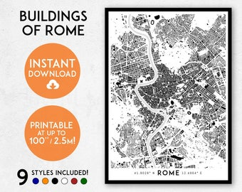 Map Of Rome Etsy - Rome map download
