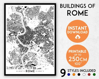 Rome map print, Rome print, Rome city map, Italy map, Rome poster, Rome wall art, Map of Rome, Rome art print, Rome map poster, Rome gift