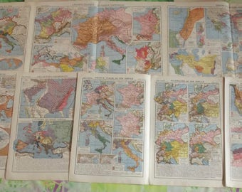 18 old geography 1931 French Atlas maps, East and world, France in 1789: Europe in 1815, the war of 1914-1918