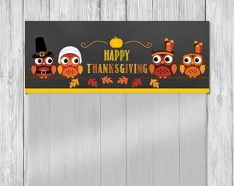Thanksgiving Treat Bag Topper | Chalkboard Owls | Thanksgiving Candy Bag Topper | Thanksgiving Ziptop Topper | Thanksgiving Pilgram Turkey