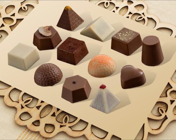 כשר | חלב ישראל | Gourmet Chocolate Truffles | Chocolate gift | fancy chocolate  | gourmet gift | and wedding Favors | Assorted 12 pieces.