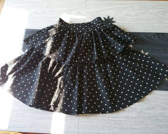 1980's ruffle party skirt size small polka dots