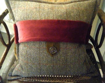Harris Tweed Cushion with Corduroy Accent