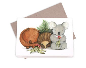 Native Australian Babies – With Koala, Echidna And Wombat Greeting Card