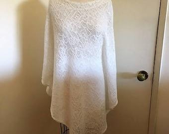 Vegan wool lace poncho