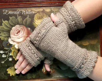 Fingerless Gloves, Knitted Gloves, Lace Fingerless Gloves, Gloves, Gray Fingerless Gloves, Gray Gloves