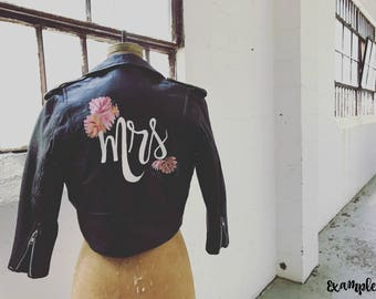 "Custom hand-painted ""Mrs."" / ""Forever"" / ""Wifey"" / ""Just Married"" Jacket for Brides (jacket not included)"