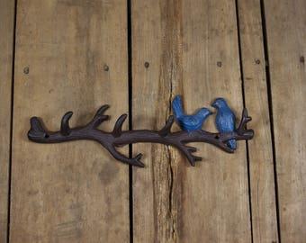 Cast Iron Blue Birds on Branch Hook Rack