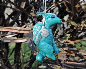 OOAK Polymer Clay Christmas Blue Viking Baby Wyvern Dragon Ornament