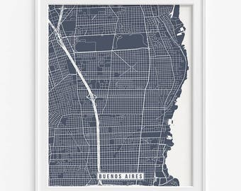 Buenos Aires Print, Argentina Poster, Buenos Aires Map, Buenos Aires Poster, Argentina Map, Street Map, Office Art, Valentines Day Gift